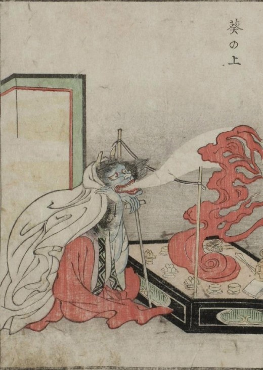 """""""The Kaibutsu Ehon (""""Illustrated Book of Monsters"""") features woodblock prints of yōkai, or creatures from Japanese folklore. - Aoi no Ue - Character from The Tale of Genji who suffers episodes of spirit possession"""