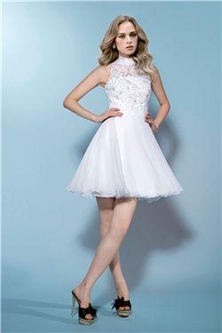 All Sizes Beading Chic & Modern Short/Mini Sleeveless Zipper-up Natural Summer Wedding Dress