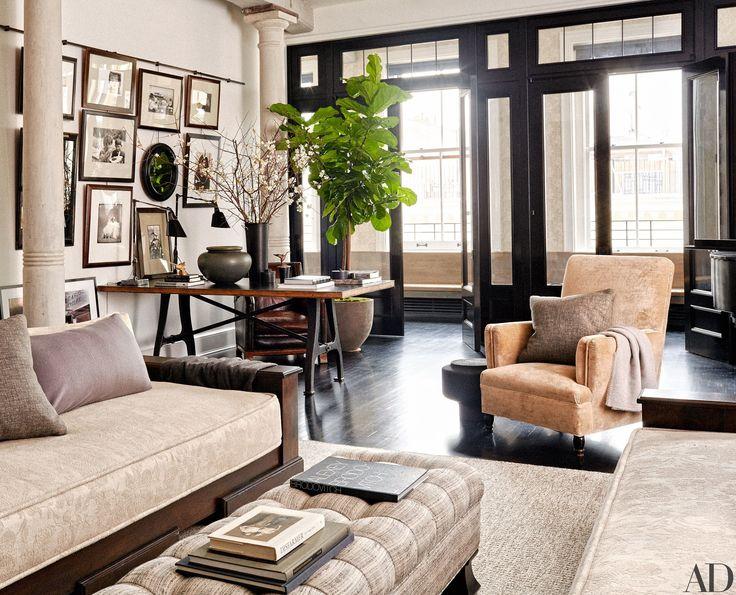 Go Inside Meg Ryan's New York City Loft Photos | Architectural Digest picture rail/black woodwork