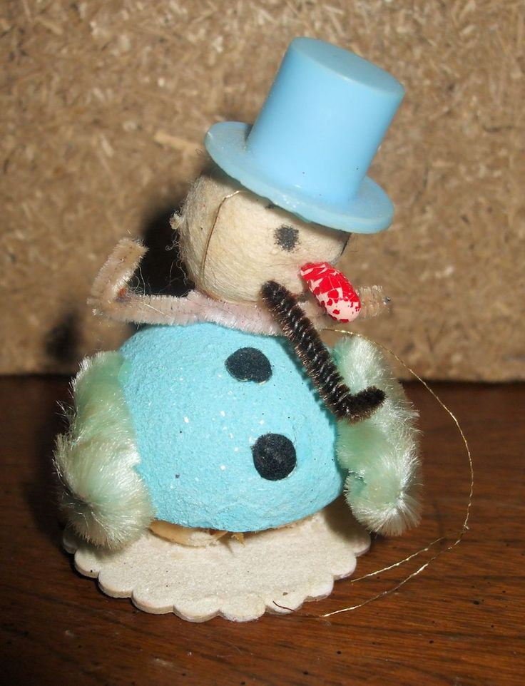 """Christmas Ornaments 2:  hand-made snowman ornament with blue top hat, against a wood background.  Can use with Christmas Ornaments 1 as a set.  Image size 975 x 1275px; prints at 3.25 x 4.25"""".  Photo by Jeri-Lynn Woods, available for use, free, under a Creative Commons BY license."""
