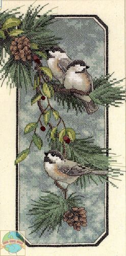 Cross Stitch Kit Dimensions Winter Chickadees Birds Branch Pinecones 3199 | eBay