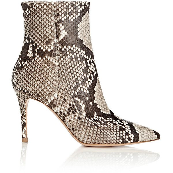 Gianvito Rossi Women's Pointed-Toe Python Ankle Boots ($1,895) ❤ liked on Polyvore featuring shoes, boots, ankle booties, ankle boots, dark grey, short boots, high heel ankle booties, bootie boots and pointy-toe ankle boots