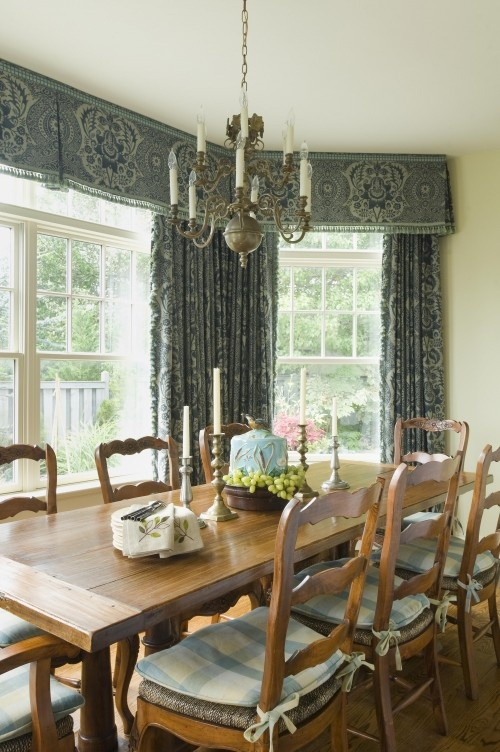 Inverted pleat valance bay window treatment inspiration for Dining room valance ideas