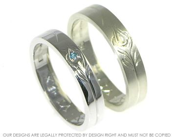 A pair of 9ct white gold wedding bands with peacock feather detail. ~ Harriet Kelsall Jewellery Design