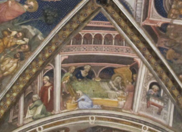 Ottaviano Nelli  - Nascita di Maria, dettaglio Storie di Maria - affresco - 1424 - Museo di Palazzo Trinci, Foligno - Cappella