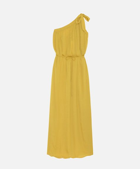 Vestido largo asimétrico satinado, 899$ - Vestido largo sin mangas asimétrico. Cierre mediante cinturón - Primavera Verano 2017 moda de mujer en Oysho online.