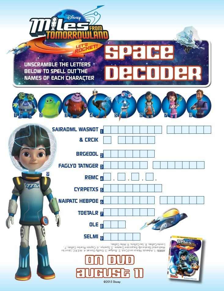 Miles From Tomorrowland activity and coloring pages will keep your child entertained any day. Join Disney Junior's Miles through Tomorrowland adventures! Space Decoder