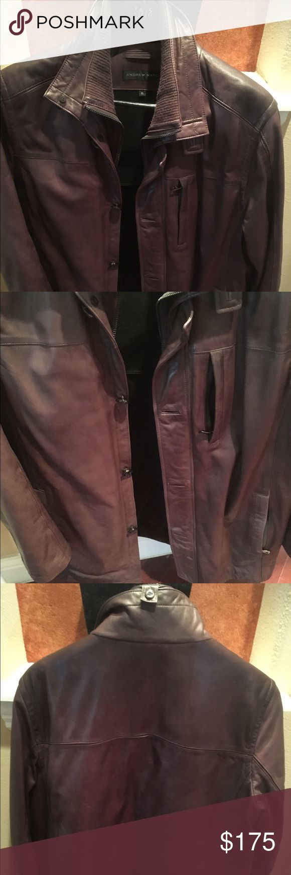 Brown Andrew Marc Leather  jacket Brown Andrew Marc Butter soft Leather  jacket with double collar, outer pockets and functional zipper pocket. Has button and zip closure. Andrew Marc Jackets & Coats