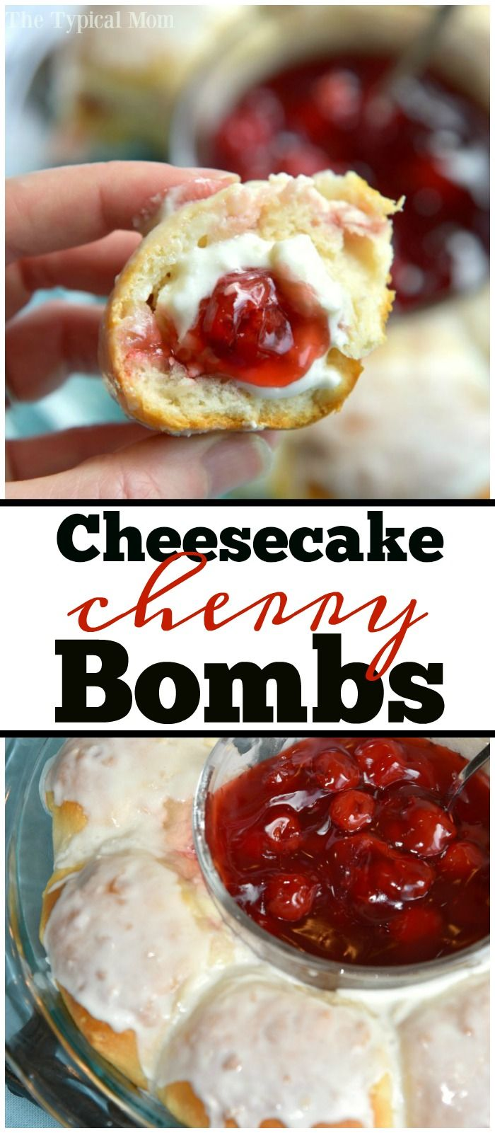 You've got to try these cherry cheesecake bombs!!! They're amazing and easy to do. Perfect brunch or dessert idea using pie filling. via @thetypicalmom