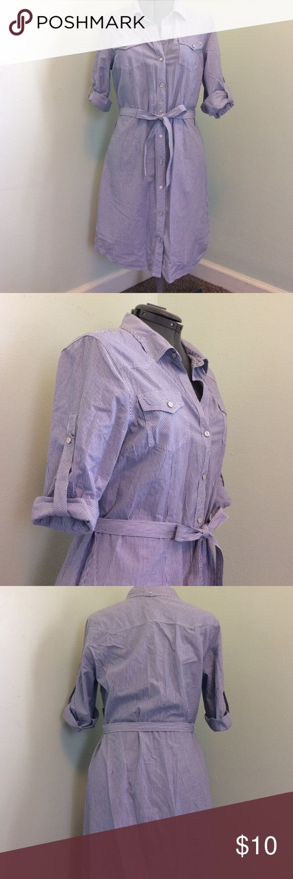 NWT Blue and white striped shirt dress New with tags blue and white shirt dress. Button front with adjustable sleeves. Tommy Hilfiger Dresses Midi
