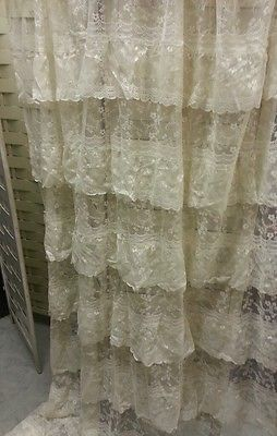 On AuctionEBAY NOW!!  Layered Ruffled lace shower curtain~FrenCH ChiC Romantic ShabbY Ivory~Cottage