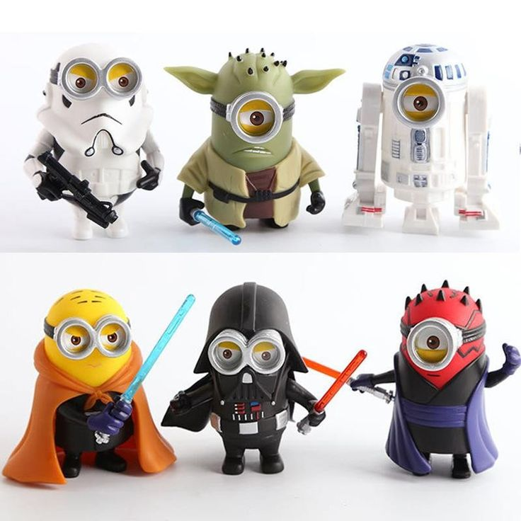 How adorable are these 6 pcs Minion Star Wars Toys Mini Figure