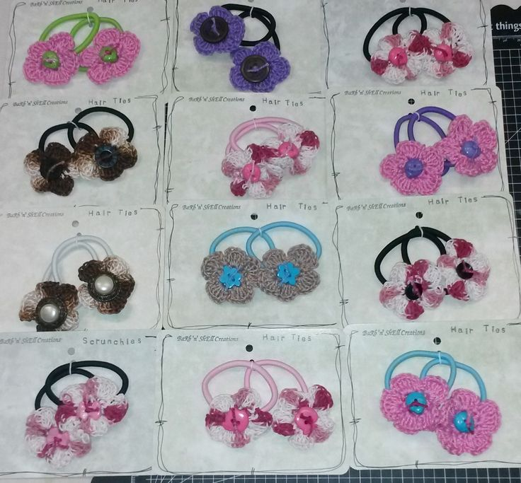 Barb'n'Shell Creations - Crocheted Flower Hair Ties featuring Flowers by Shell