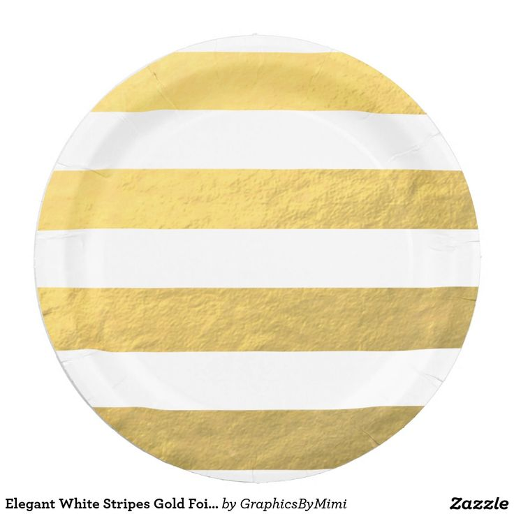 Elegant White Stripes Gold Foil Printed Paper Plate  sc 1 st  Pinterest : personalised paper plates - pezcame.com