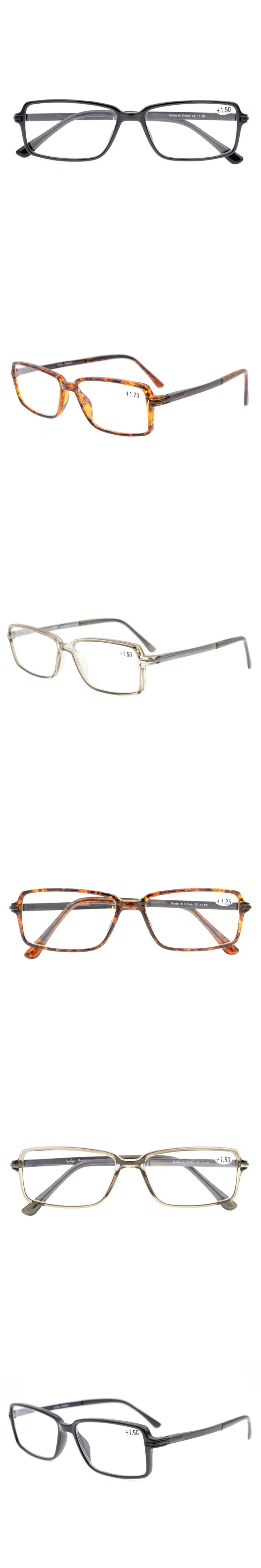 TR006 Eyekepper Classic Rectangle TR90 Frame Spring Hinges Reading Glasses Stylish Crystal Clear Vision +0.50---+3.00