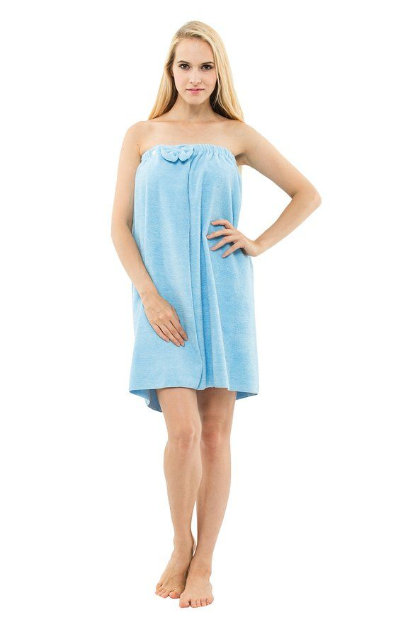 Yukata Ladies's Spa Bath Towel Shower Body Wrap Bathrobe, Blue