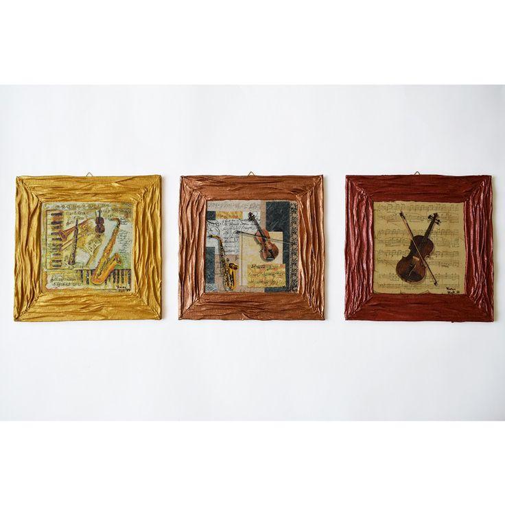 Music series – 3 in 1 (Zene sorozat – 3 az 1-ben) - 3 x 25 x 25 cm, 2017, https://www.vivienholl.com/termek/zene-sorozat-3-az-1-ben/ #paverpol #napkin #szalvéta #music #zene #violin #saxophone #hegedű #szaxofon #pentart #vivienholl
