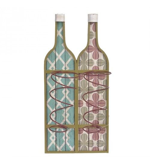WOODEN WALL BOTTLE HOLDER IN MULTI COLOR 22X11X47