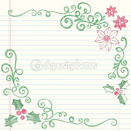 Christmas Holly and Poinsetta Sketchy Doodles — Imagen vectorial #8421923
