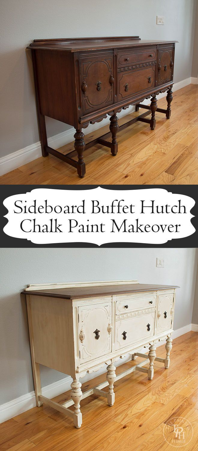 #Sideboard #Buffet #Hutch #Chalk #Paint #Makeover #DIY #upcycle #beforeandafter #furniture