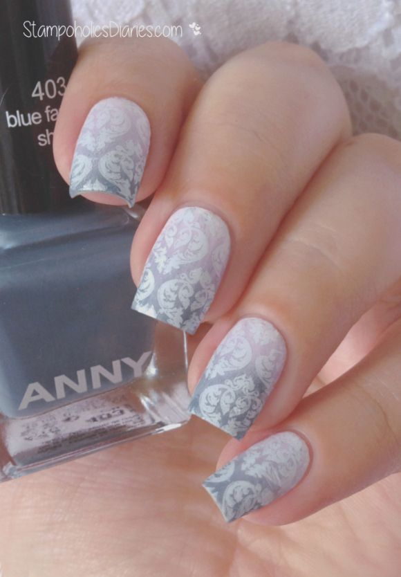 Baroque Nails Anny 403 blue fashion show, 225 lilac powder, Born Pretty BP-L 007, Essence 33 wild white base