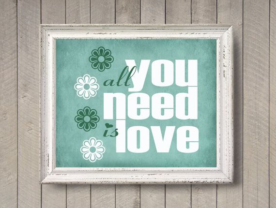 Items similar to all you need is love minty photographic print mint green aqua girls room wall art home decor beatles song lyrics quote kids retro fun