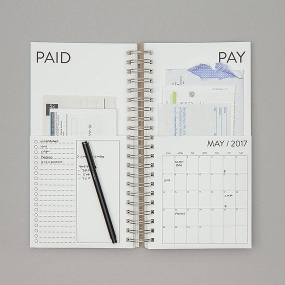 DUE TO HIGH DEMAND, THIS ITEM MAY SHIP 3-5 BUSINESS DAYS AFTER THE ORDER IS PLACED.  BUDGET / PLAN / ORGANIZE Organizing your bills has never been easier. When you get a bill in the mail, put it in the pay pocket and fill in the due date on the calendar. When you pay the bill, move it over to the paid side and check it off your list.  DETAILS: • January 2017 - December 2017 • 2 pockets for each month to organize bills • Room for lists and notes • 5.5 x 11 • Inside pages printed on h...