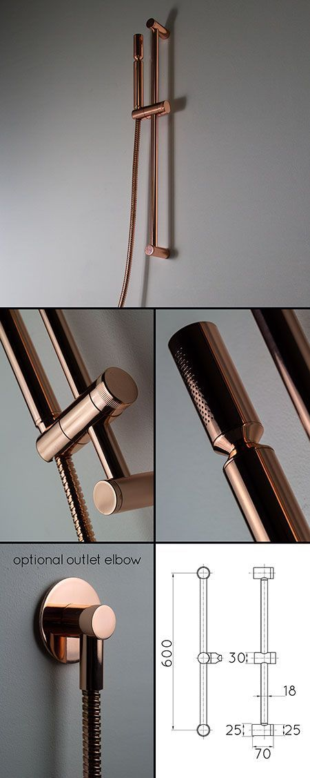 copper slide rail shower head 35hh bathrooms pinterest badezimmer sanit r und g rten. Black Bedroom Furniture Sets. Home Design Ideas