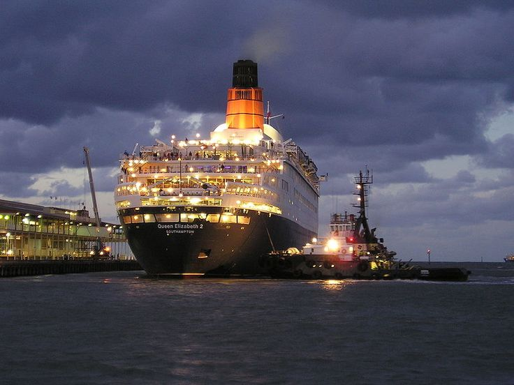 The Cunard liner RMS Queen Elizabeth 2 'QE2'. Great stern view.