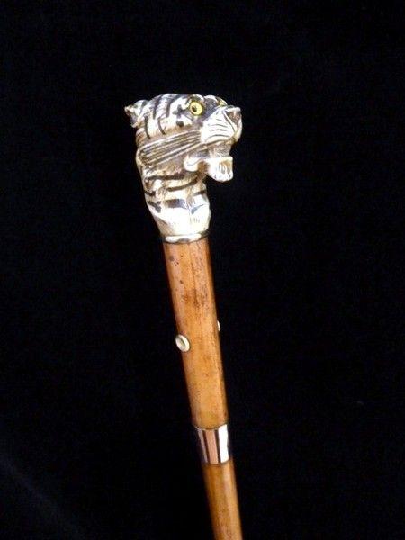 Ротанговая трость с ручкой из слоновой кости тигра - Античная Уинфилд Тросточки