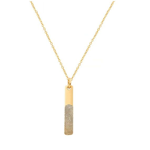 Actual Fingerprint Necklace 1.25 inch in 18k by justmadewithheart