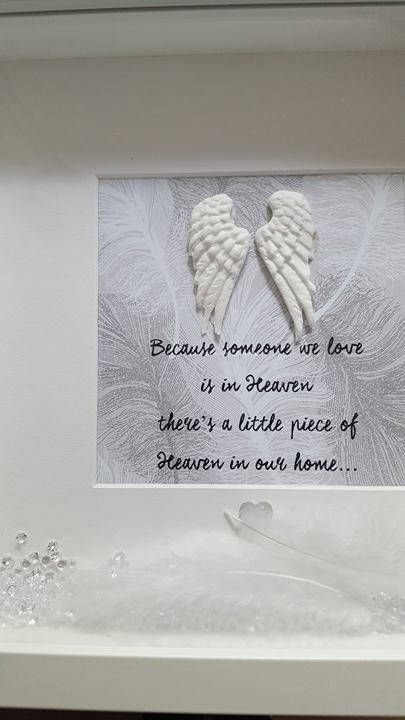 Beautiful Memory Memorial Frame  Because someone we love is in Heaven  Handmade white angel wings, soft white feathers and clear crystals are added to this box frame, making it stunningly beautiful  pictures never do this justice...