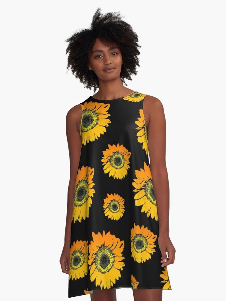 #Sunflowers on black background, #summer #flowers, #floral pattern #A-line dress • Also Available as T-Shirts & Hoodies, Men's Apparels, #Women's #Apparels, Stickers, iPhone Cases, Samsung Galaxy Cases, Posters, Home Decors, Tote Bags, Pouches, Prints, Cards, Mini #Skirts, Scarves, iPad Cases, Laptop Skins, Drawstring Bags, Laptop Sleeves, and Stationeries #dress #stylish #design #fashion #designer #clothing #style #redbubble #aline #orange #yellow #black