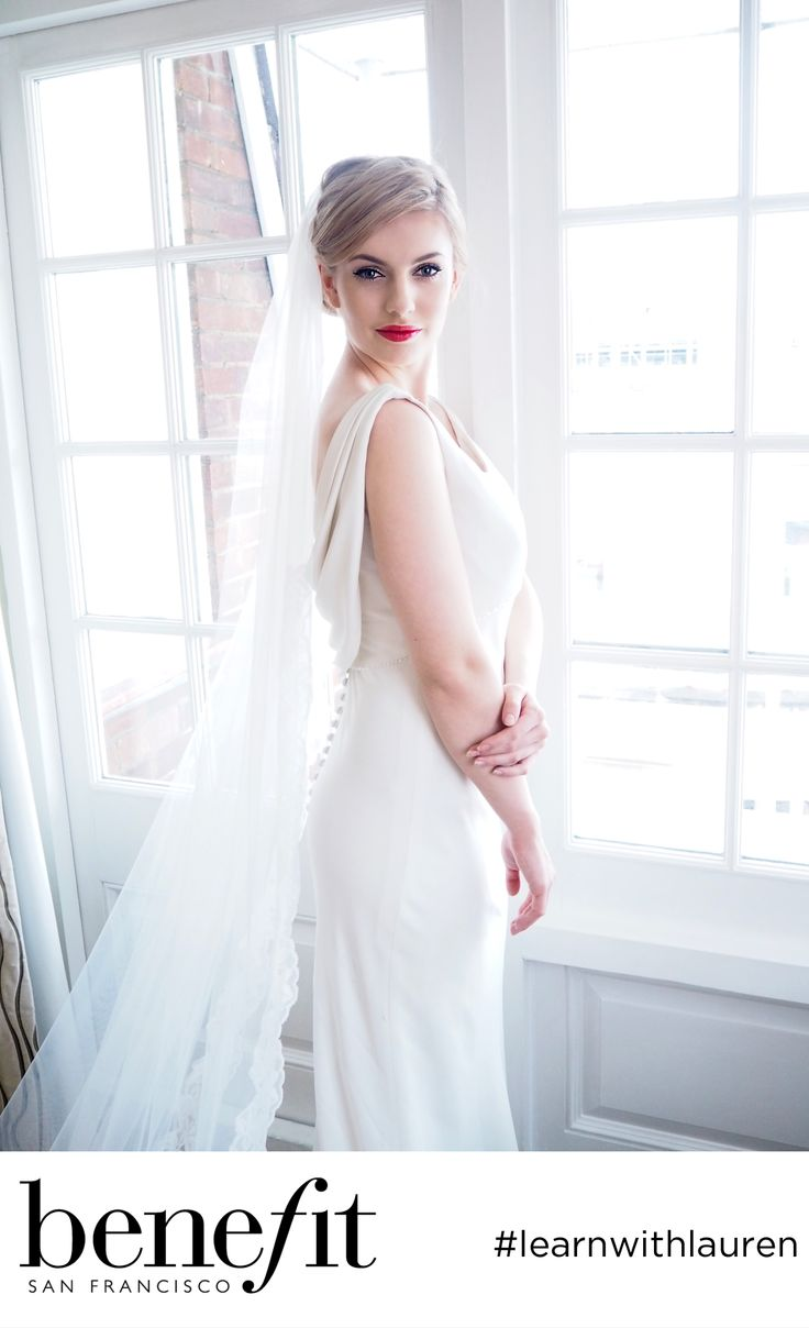 Couture chic. Wedding Bridal Makeup from Benefit Cosmetics.  Make the aisle your red carpet with bold red lips and a feline flick! Guaranteed to make heads turn!