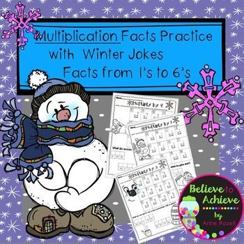 Multiplication Fact Practice (1's to 6's) with Winter Jokes!