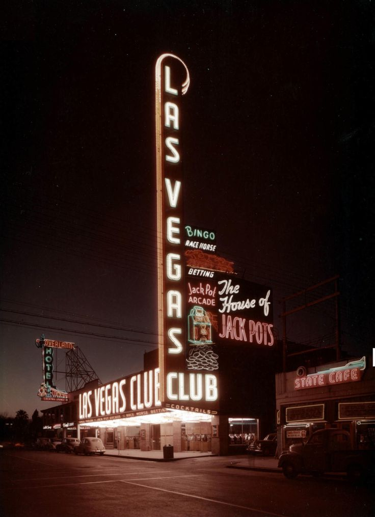Las Vegas Club and Overland Hotel, c. 1949-1953, 18E. Fremont St. State Cafe became Buckley's in 1953. Photo UNLV