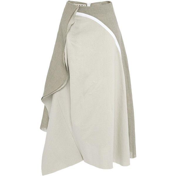 Marni Linen Canape Skirt (8.060 HRK) ❤ liked on Polyvore featuring skirts, linen skirt, white linen skirt, geometric skirt, floral knee length skirt and wrap skirt