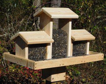 Post Mount Bird Feeder Cedar Four Sided by MtnWoodworkingCrafts