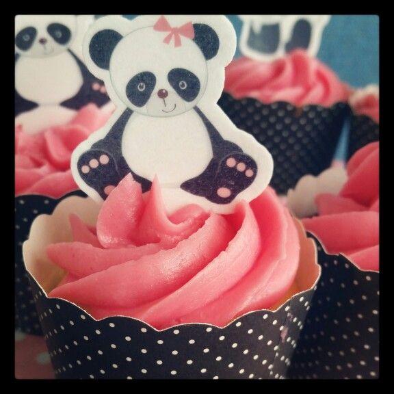 Pink panda baby shower cupcakes
