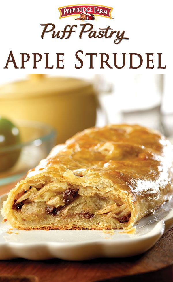 Pepperidge Farm Puff Pastry Apple Strudel Recipe. Serve this dessert at your next party or gathering to bring a homemade taste and old-fashioned goodness to your holiday table. Made with frozen Puff Pastry Sheets and filled with cinnamon sugar apples and