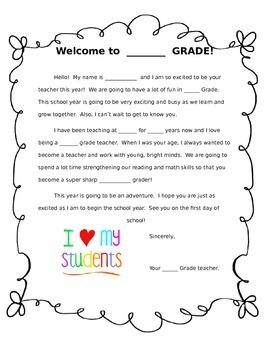 generic welcome letter student teachers pay teachers tpt pinterest classroom school and student
