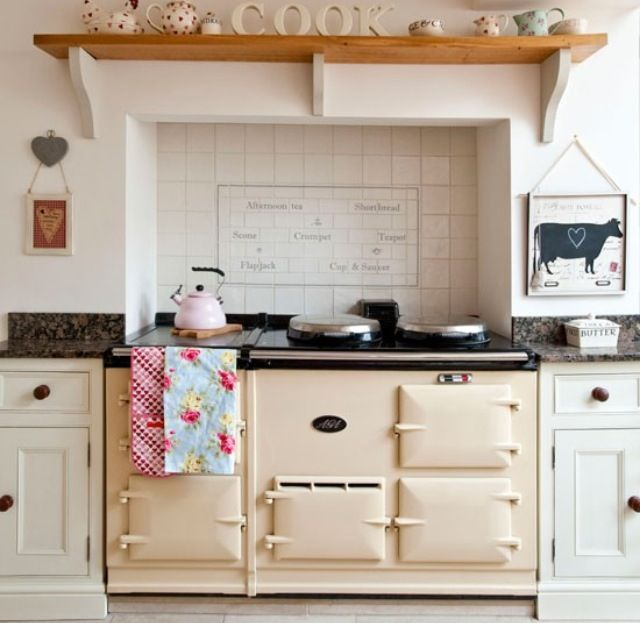 Range cooker in chimney breast. I'd love to on day reinstate the chimney in the kitchen to serve as an exhaust to the stove and get an old looking stove like this to look the part. We have the old original wood burning stove for the dining room still!
