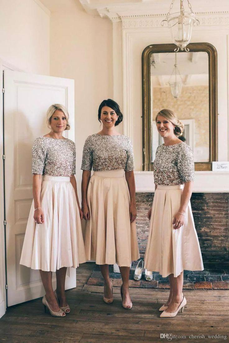 Tee Länge erröten zweiteilige Brautjungfer Kleider Land A-Linie
