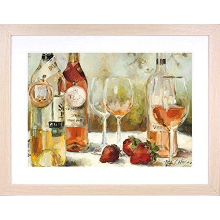 buyartforless IF WAP 5706 40x30 2 Noak DM Framed Summer Award Winners Wine & Strawberries by Marilyn Hageman 40X30 Tuscan Art Print Poster Matted in Natural Oak Frame #buyartforless