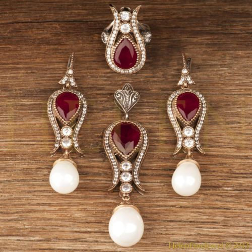 Hurrem Sultan Set Tulip Form Ruby Pearl Look Turkish Ottoman Jewelry 925 SS