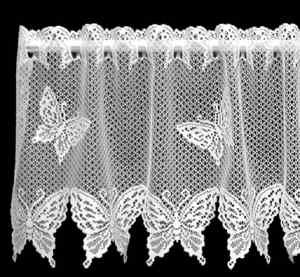 Heritage Lace White Butterflies Window Valance Filet