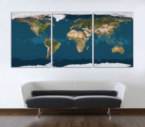 21 best world map canvas wall art images on pinterest office wall 3 panel split world map canvas print 15 deep frames digital paint texture gumiabroncs Image collections