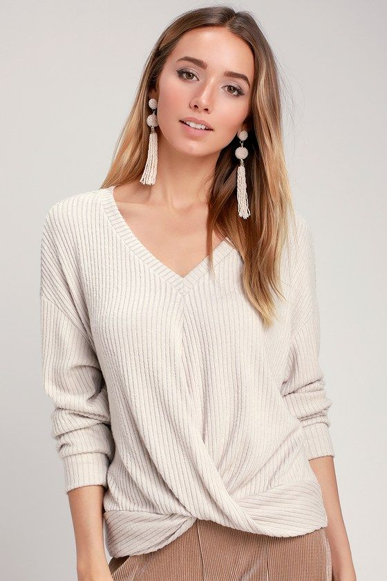 232fa5cd8835 The LUSH Cozy Twist Light Beige Twist-Front V-Neck Sweater Top is a ...