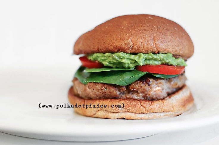 Polka Dot Pixies: {Herbed Turkey Burger Recipe - topped with an avocado spread}    A healthful version of the classic hamburger.: Cheeseburgers, Turkey Burger Recipes, Polka Dots, Pork Turkey, Pixies, Herbs Turkey, Dots Pixie, Turkey Burgers Recipe, Salts Recipe