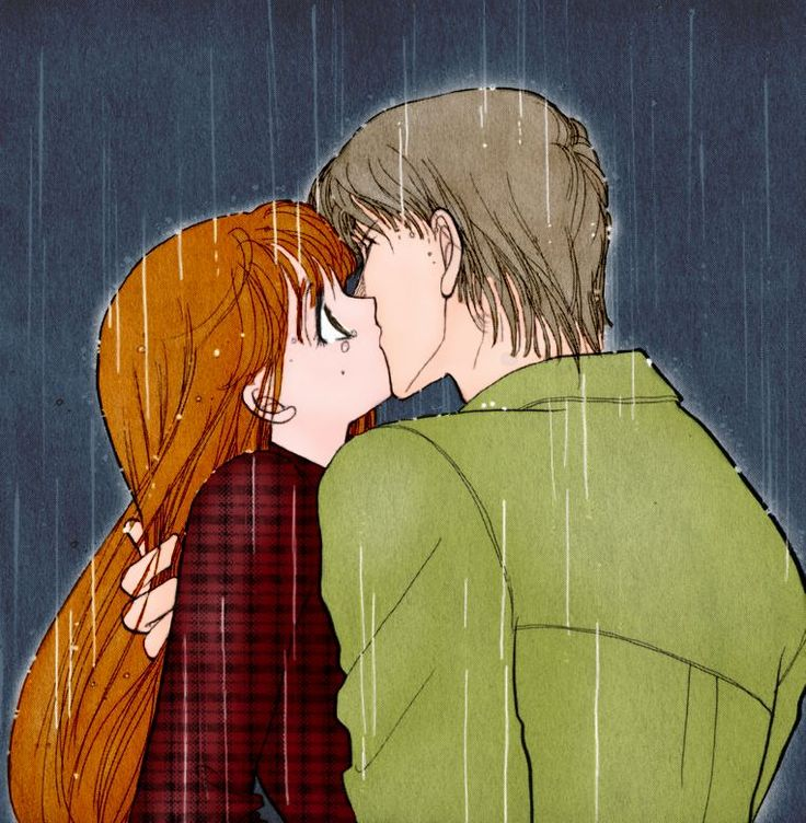 Rain kisses may be adorable, but I personally prefer snow kisses... Much more romantic and less wet, plus I get to hug my love tighter for warmth! <3 ;)